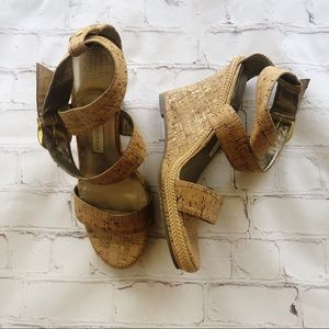 "[Dana Buchman] ""Bailey"" cork wedge strappy sandals"